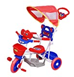 BabyGo Musical Elephant Kids Tricycle with Shade & Parental Control Blue-Red