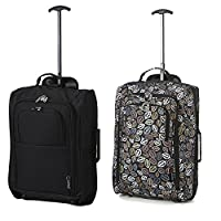 Set of 2 Super Lightweight Cabin Approved Luggage Travel Wheely Suitcase Wheeled Bags Bag BLK + 195 BLK