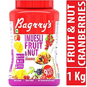 Bagrry's Crunchy Muesli Fruit and Nut with Cranberries, 1000 GM, Jar