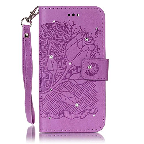 SKYXD für iphone 7 Hülle Leder Rosen Blumen und Schmetterlings Muster,PU Folio Klappbar SchutzHülle [Brieftasche Kartenfach / Magnet / Standfunktion / Trageschlaufe] KlappHülle für mit [Krone Handyanh Design 10
