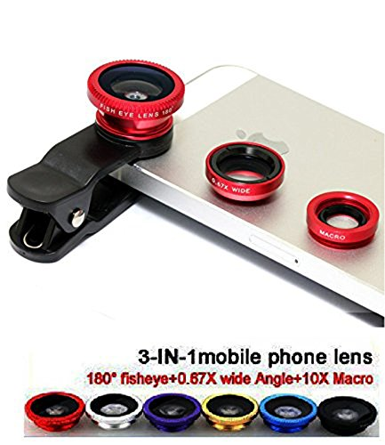 VOLTAC Universal Clip Type 3 in 1 Fish Eye, Wide Angle & Macro Lens for All Android/Smartphones Pattern #181522