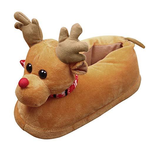 SOMESUN Noël Elk Chaussons Unisexe Peluche Coton Accueil Chaussons Hiver Chaud Intérieur Noël Chaussons Pantoufles (M, Jaune)