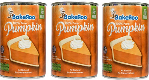 (Pack of 3) Bakeroo Tinned Pumpkin Puree (Pumpkin Pie Filling - Kürbiskuchen), 100% Natural - 425g