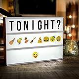 Scatola Luminosa, innislink Light Box Luce Box con Led Cinematic Lettere Light Box A4 con 189 Flessibile Lettere Emoji colorati, Faccine e Simboli per Matrimonio Casa Foto Festa Anniversari Natale