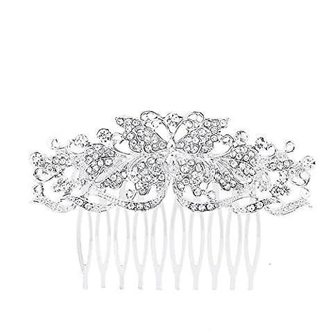 DUUMY Mme 2017 Nouveau Peigne Inséré Peigne Papillon Bijoux en Diamants étincelants de Mariée Mariage Bijoux de Cheveux , white