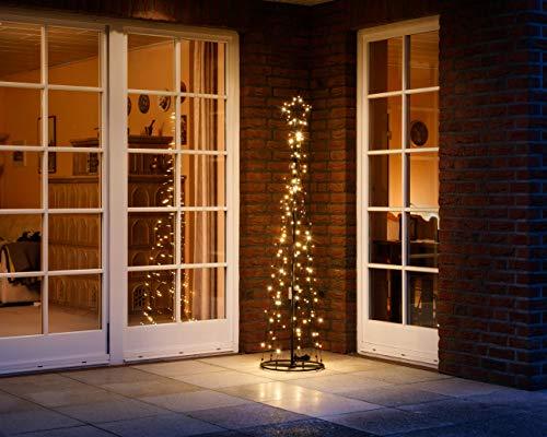 LED Metall-Tannenbaum   mit warmweißen LED beleuchtet   Lichterbaum - Weihnachtsbaum für den Innen und geschützten Außenbereich (180 cm / 160 LED)
