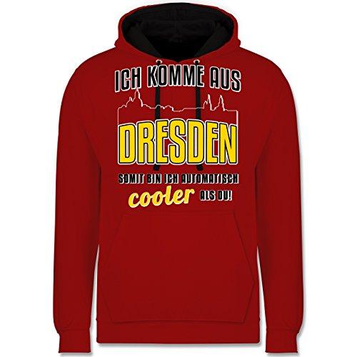 Städte - Ich komme aus Dresden - Kontrast Hoodie Rot/Schwarz