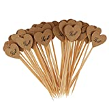 MagiDeal 50er/Set Kraftpapier Herz Form Cupcake Picks Zahnstocher für Hochzeit Party Kuchen Dekoration - # LOVE