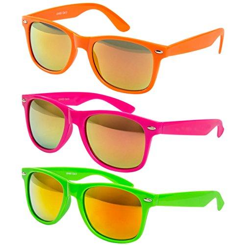 3 er Set EL-Sunprotect Sonnenbrille Nerdbrille Brille Nerd Feuer Verspiegelt Party Set