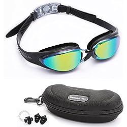 Bezzee Pro Gafas de Natación Experto - lente de Color gafas - Anti Niebla - Hermético - Ajustable - Visión De 180 Grados - Mejor Para Hombres, Mujeres, Niños y Jóvenes de Mas de 10 Años