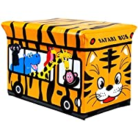 Storage Toy Padded Kids Box Bench Seat Safari Bus Childrens Play Chest