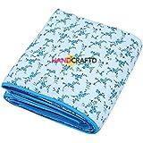 Handcraftd Cotton 200 TC Blanket (Blue_Standard)