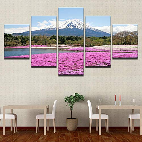 Mount Snow (Zuhause Wandkunst Dekor Bilder HD Prints Poster 5 Stück Mount Snow Mountain Rosa Blumen Meer Landschaftsbilder30x40cmx2 30x60cmx2 30x80cmx1)