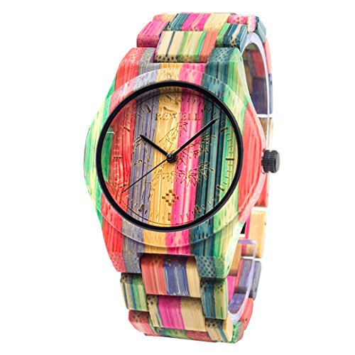 Bewell Fashion Style Extrem Lihgtweight Hölzerne Armbanduhr für Männer aus natürlichem buntem Bambusholz ZS-105DG (Mixed Color 1)