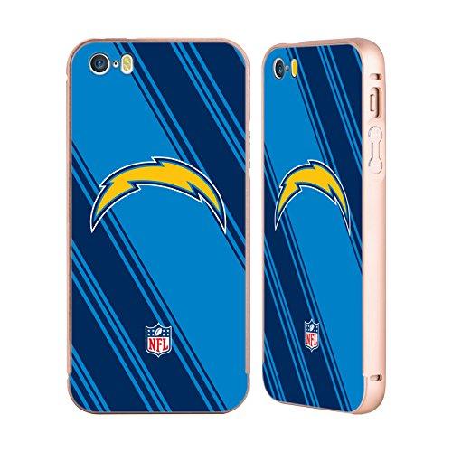 Ufficiale NFL Marmo 2017/18 Los Angeles Chargers Oro Cover Contorno con Bumper in Alluminio per Apple iPhone 5 / 5s / SE Righe