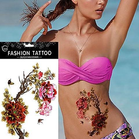 HJLWST® 5pcs peonia impermeabile braccio corpo farfalla Art Sticker tatuaggio temporaneo