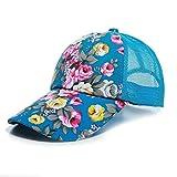 Kofull 2018nuovo donne maglia tappi fiore sole cappello da baseball sport Golf regolabile traspirante cappello trucker cappello da baseball, cappellino in rete Sunbonnet Outdoor, blue