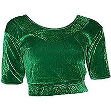 Verde Claro Terciopelo Top Blusa Choli para Bollywood Sari Talla XXL