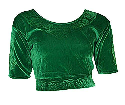 Grün Choli (Sari Oberteil) Samt Gr. 50 Gr. 3XL XXXL ideal für Bauchtanz