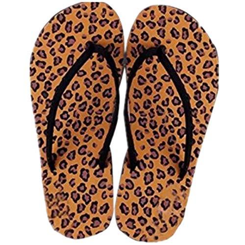 Zegeey Tongs Femmes Tongs léopard à la Mode Eté Chaussures Sandales Slipper Tongs Intérieur & Extérieur Pantoufles de Plage Portables et Confortables Pantoufles de Bain antidérapantes
