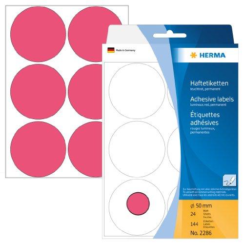 herma-2286-vielzwecketiketten-50-mm-rund-papier-matt-144-stck-leuchtrot