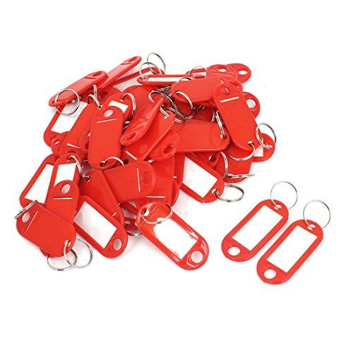 Kunststoff Gepäck ID Label, Namensschild mit Schlüsselring, Rot, 50 Stück (50 Gepäck)