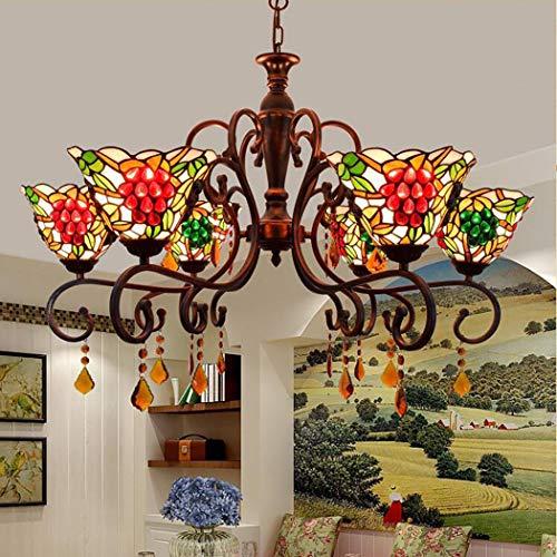 Öl Eingerieben Bronze Licht 6 (6 Licht Tiffany Stil Kronleuchter Beleuchtung viktorianischen antiken Trauben Glasschirm, Öl eingerieben Bronze Pendelleuchten Deckenleuchten hängen)