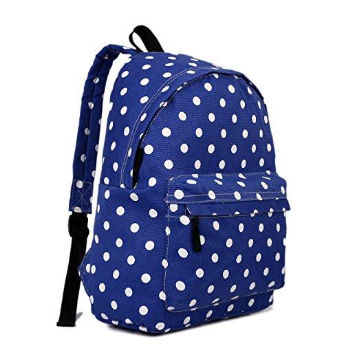 Miss Lulu Damen Mädchen Polka Dot Canvas Rucksack Rucksack, Blau - Dunkelblau - Größe: Medium (Polka Dot Handtasche Tote)