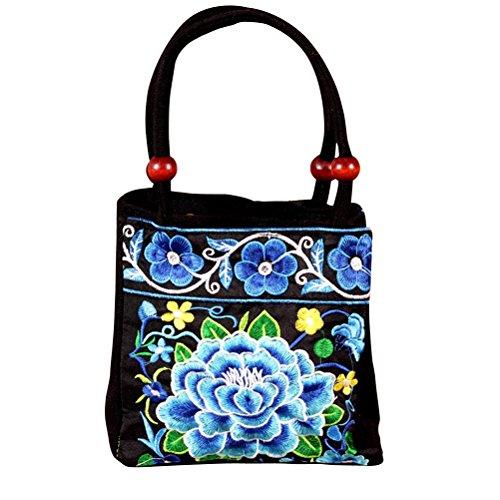 BESTOYARD Bolso bordado étnico retro del bolso de la lona de la flor de las mujeres hechas a mano (azul)