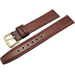 Light Brown Tan Leather Watch Strap Band 16mm