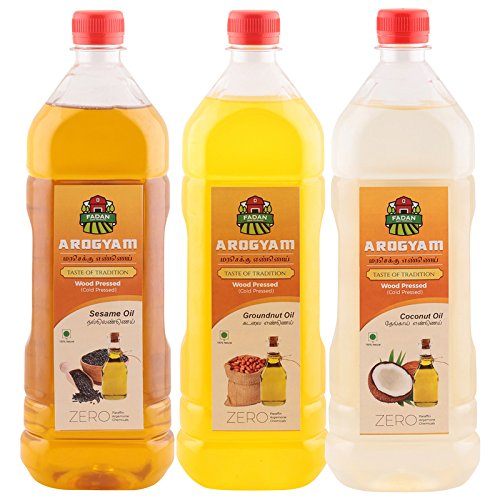 Arogyam cold pressed/wood pressed sesame,groundnut & coconut oil combo pack each 1000ml.