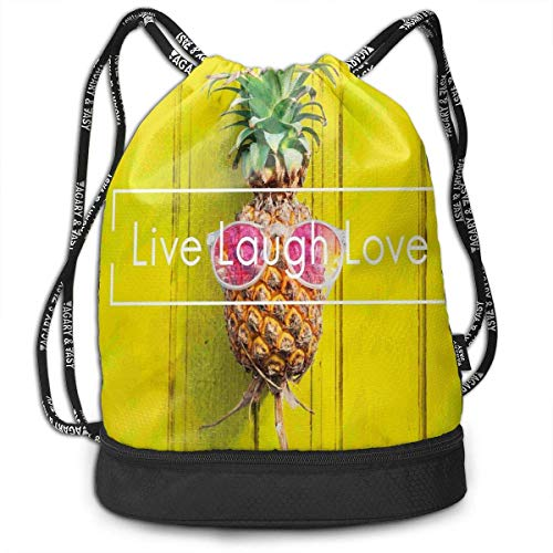 RAINNY Tropical Pineapple with Sunglasses Partying Drawstring Bag Backpack Bundle Backpack