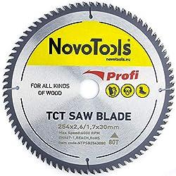NOVOTOOLS Lame de scie circulaire à bois 254 x 30 mm x 80 dents pour scies Festool, Bosch, Makita, DeWalt etc.