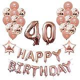 Yoart 40. Geburtstag Dekorationen Rose Gold für Frauen und Mädchen Party Supplies 39 Stück mit Alles Gute zum Geburtstag Banner Konfetti Latex Ballons Sterne Folienballons