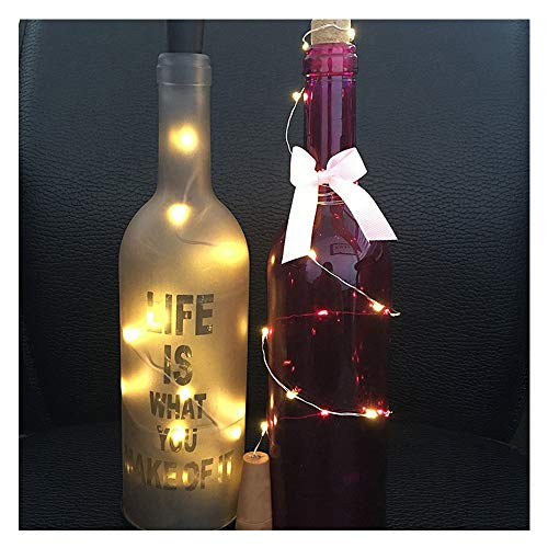 Weihnachtsbeleuchtung Solar Wine Bottle Korkförmige Lichterkette 10 LED Night Fairy Light Lamp Xmas (Gelb) Rosa Rose Night Light