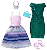 DWG42 - Original Barbie Fashion Mermaid 2er-Pack Mode, Kleider Sortiment, Set mit 2 Outfits inkl. Schuhe, Schmuck u. Tasche