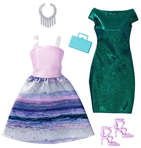 DWG42 - Original Barbie Fashion Mermaid 2er-Pack Mode, Kleider Sortiment, Set mit 2 Outfits inkl. Schuhe, Schmuck u. Tasche