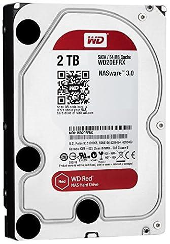 WD Red 2TB interne Festplatte SATA 6Gb/s 64MB interner Speicher (Cache) 8,9 cm 3,5 Zoll 24x7 5400Rpm optimiert für SOHO NAS Systeme 1-8 Bay HDD Bulk