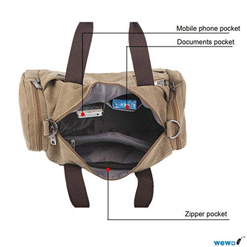 Wewod ad alta capacità da viaggio weekend borsa a tracolla borsa tela resistente materiale stile vintage Medium, Army green (multicolore) - ST1110 Brown