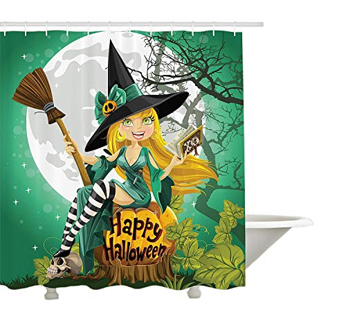 ang, fröhlich lächelndes Mädchen in Halloween-Kostüm auf einem Kürbis Giant Moon Woodland, Stoff Badezimmer Dekor Set mit Haken, Sea Green Multicolor ()