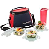 Signoraware Best Glass Lunch Box Set with Bag, 22cm, 4-Pieces, Transparent