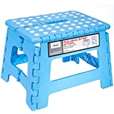 Acko 9Inch Plastic Folding Step Stool Holds Up To 250 Lb, Light Blue