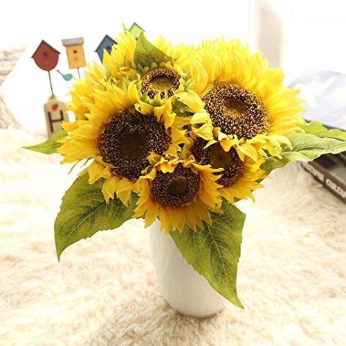 Longra Wohnaccessoires & Deko Blumenstrauß Gefälschte Seide künstliche 7 Köpfen Sonnenblume Blume Bouquet Floral Garden Home Decor Kunstblumen Künstliche