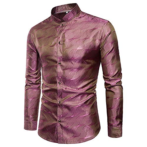 Zhongsufei Mens Dress Casual Shirts Mens Tencel Pattern Metallic Shiny Nachtclub Slim Fit Revers Kragen Langarm Button Down Shirt für Disco Party Slim Fit Dress Shirt (Farbe : Rot, Größe : M) -
