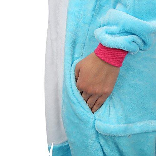 Einhorn Pyjamas Kostüm Jumpsuit -Karneval Cosplay Tier Schlafanzug Onesies Erwachsene Unisex Kigurumi (Medium, Blau) - 4