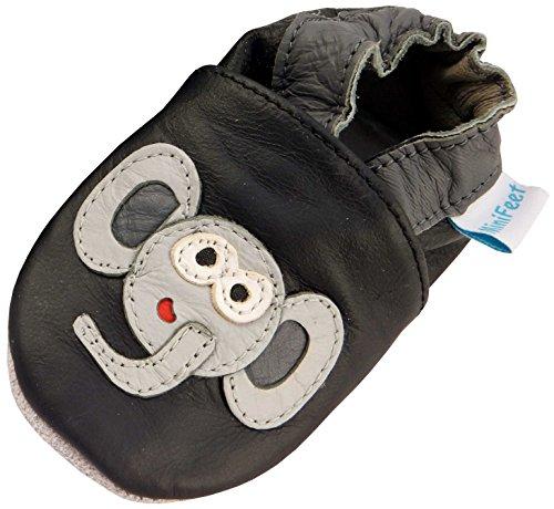 MiniFeet Weich Leder Babyschuhe Krabbelschuhe - Baby Jungen - Neugeborene bis 2-3 Jahre - Elefant Schwarz / Weichen Wildleder Sohle