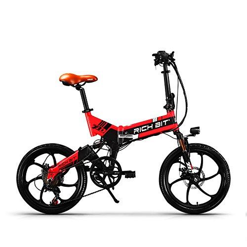 eBike_RICHBIT 730 Bicicletas eléctricas Plegables Bicicleta de Ciudad Bicicleta de cercanías Bicicleta eléctrica Ciclismo 250W 48V 8AH Batería de celda LG Rueda de 20 Pulgadas para Hombres o Mujeres