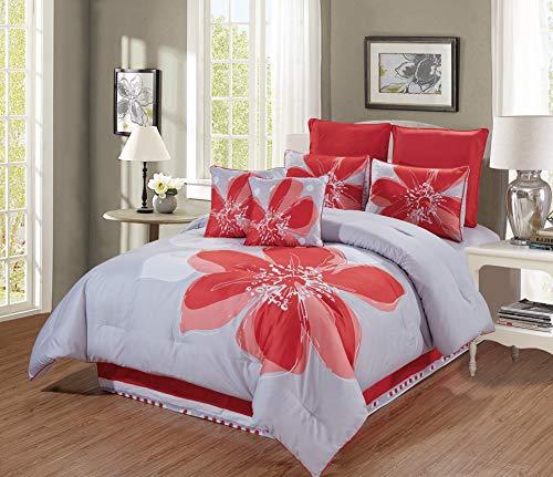 Floral Bettdecke In Voller Größe (6- und 8-teiliges Bettwäsche-Set mit Hibiskusblüten, Bettdecken-Set und Bettdecken-Set für Doppelbett, King-Size-Bett und King-Größe, Korallenorange, Grau, Weiß Modern Twin Coral Orange/Grey/White)