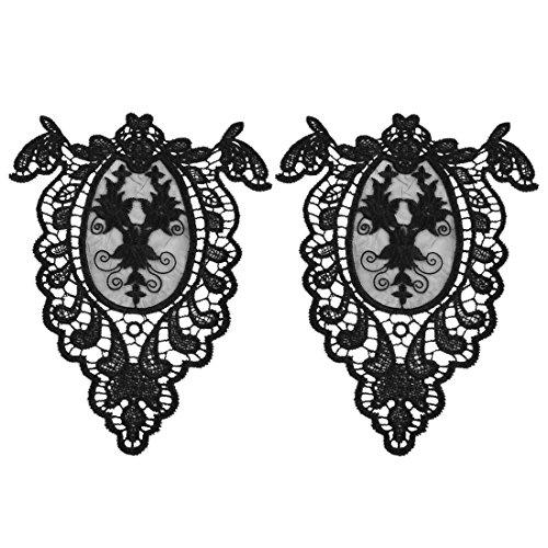 sourcingmap Polyester Aushöhlen Design DIY Handwerk Kragen Patch Nähen Spitze Trimm Paar DE