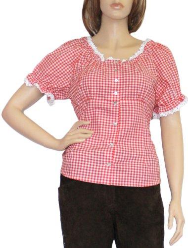 Carmenbluse Trachtenbluse Damen Trachten lederhosen-bluse Trachtenmode ROT kariert, Größe:44